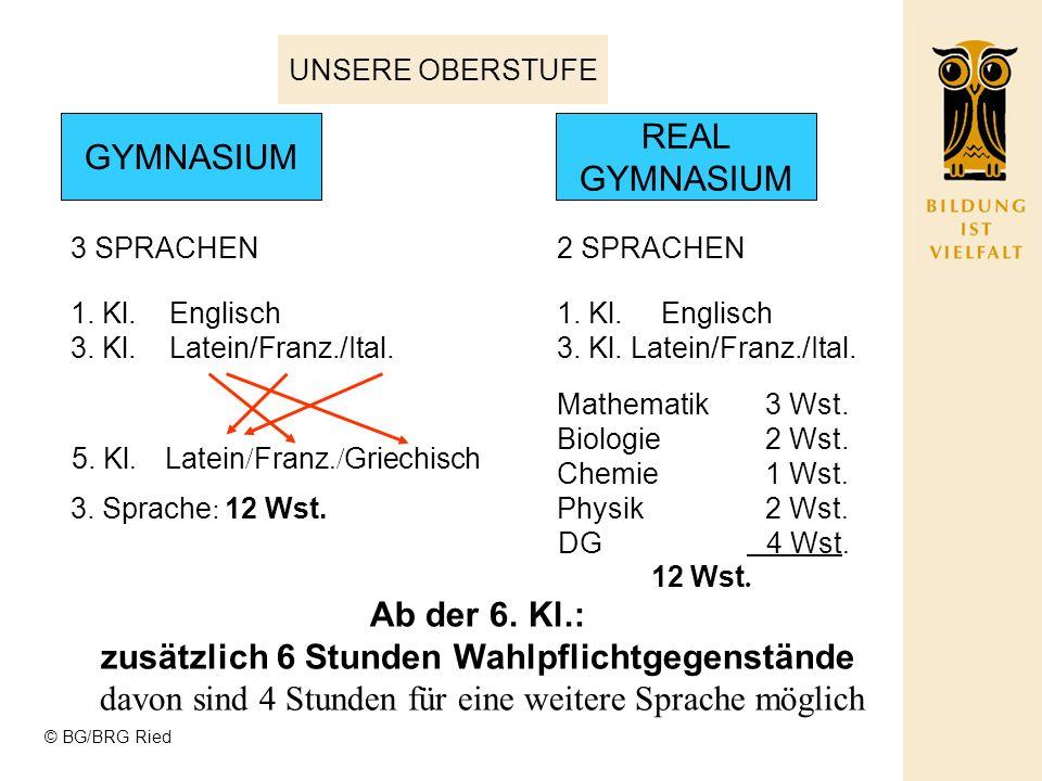 © BG/BRG Ried UNSERE OBERSTUFE GYMNASIUM 3 SPRACHEN REAL GYMNASIUM 2 SPRACHEN 1. Kl. Englisch 3. Kl. Latein/Franz./Ital. 5. Kl. Latein / Franz./ Griec