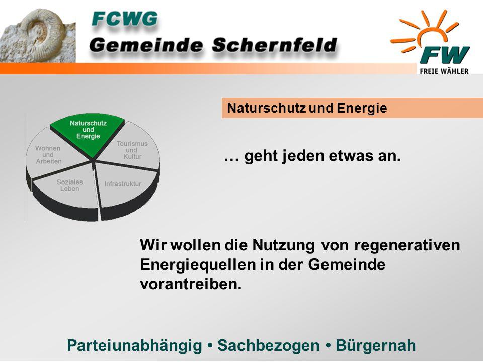 Parteiunabhängig Sachbezogen Bürgernah … geht jeden etwas an. Naturschutz und Energie Wir wollen die Nutzung von regenerativen Energiequellen in der G