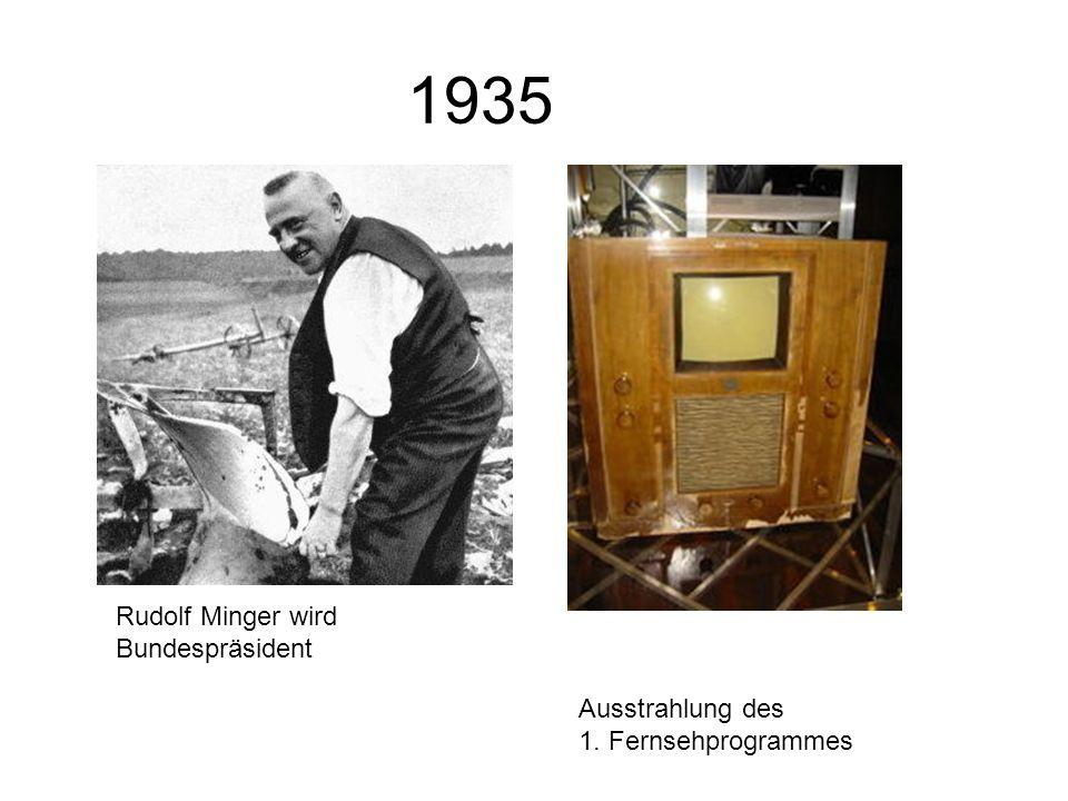 1935 Rudolf Minger wird Bundespräsident Ausstrahlung des 1. Fernsehprogrammes