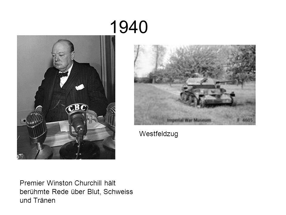 1940 Premier Winston Churchill hält berühmte Rede über Blut, Schweiss und Tränen Westfeldzug