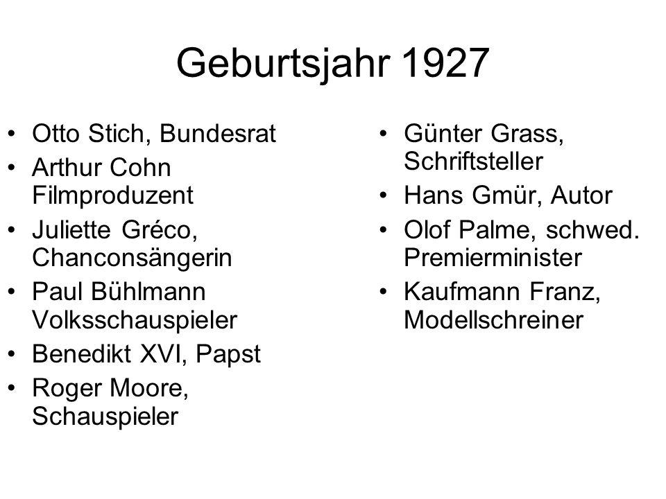 Geburtsjahr 1927 Otto Stich, Bundesrat Arthur Cohn Filmproduzent Juliette Gréco, Chanconsängerin Paul Bühlmann Volksschauspieler Benedikt XVI, Papst R