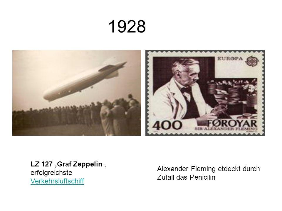 1928 LZ 127 Graf Zeppelin, erfolgreichste Verkehrsluftschiff Verkehrsluftschiff Alexander Fleming etdeckt durch Zufall das Penicilin