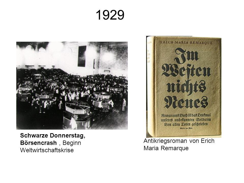 1929 Schwarze Donnerstag, Börsencrash, Beginn Weltwirtschaftskrise Antikriegsroman von Erich Maria Remarque