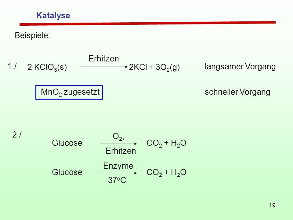 19 Beispiele: 2 KClO 3 (s) 2KCl + 3O 2 (g) Erhitzen langsamer Vorgang MnO 2 zugesetzt schneller Vorgang 1./ Glucose CO 2 + H 2 O O 2, Glucose CO 2 + H