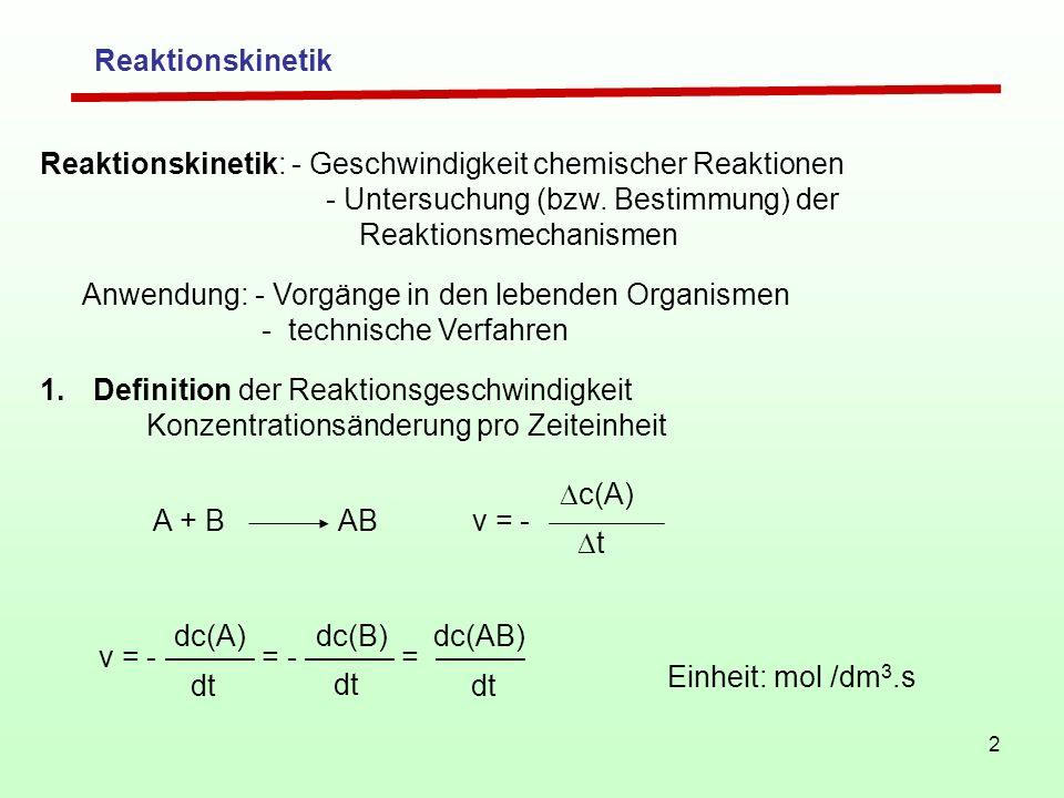 2 Reaktionskinetik Reaktionskinetik: - Geschwindigkeit chemischer Reaktionen - Untersuchung (bzw. Bestimmung) der Reaktionsmechanismen Anwendung: - Vo