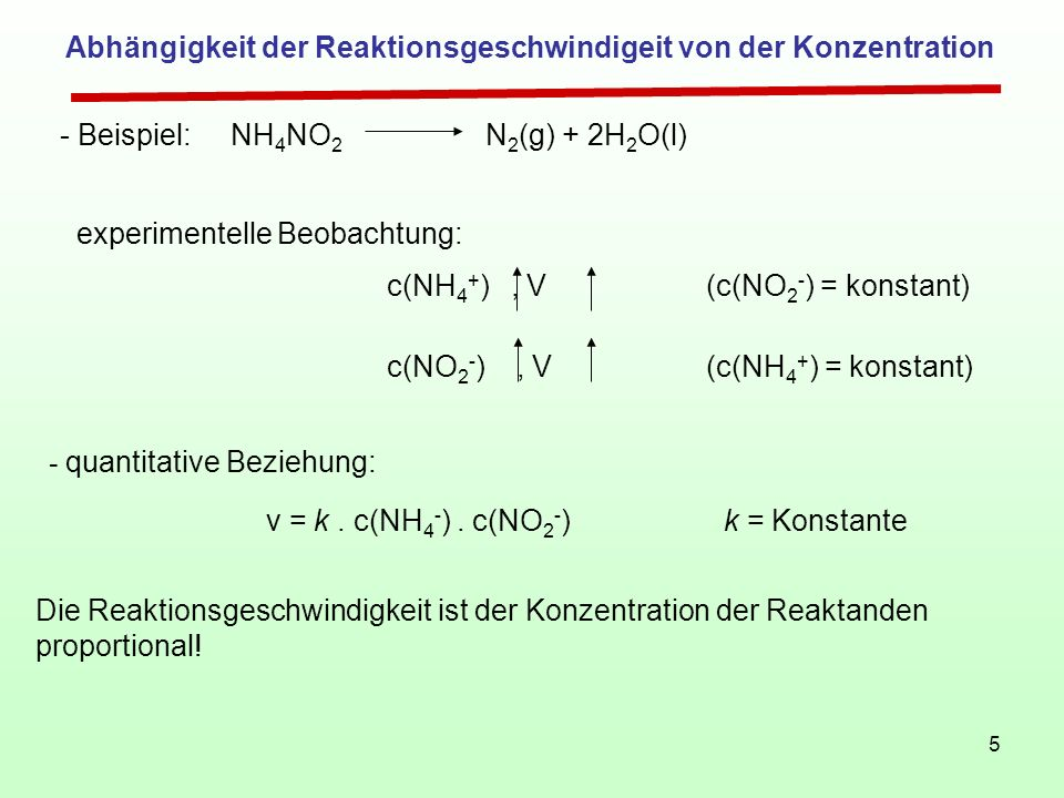 5 Abhängigkeit der Reaktionsgeschwindigeit von der Konzentration - Beispiel: NH 4 NO 2 N 2 (g) + 2H 2 O(l) experimentelle Beobachtung: c(NO 2 - ), V(c