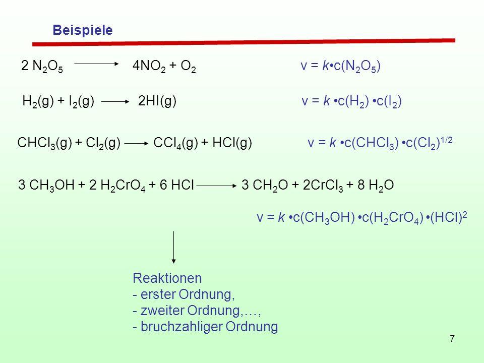 7 Reaktionen - erster Ordnung, - zweiter Ordnung,…, - bruchzahliger Ordnung Beispiele 2 N 2 O 5 4NO 2 + O 2 v = kc(N 2 O 5 ) H 2 (g) + I 2 (g) 2HI(g)