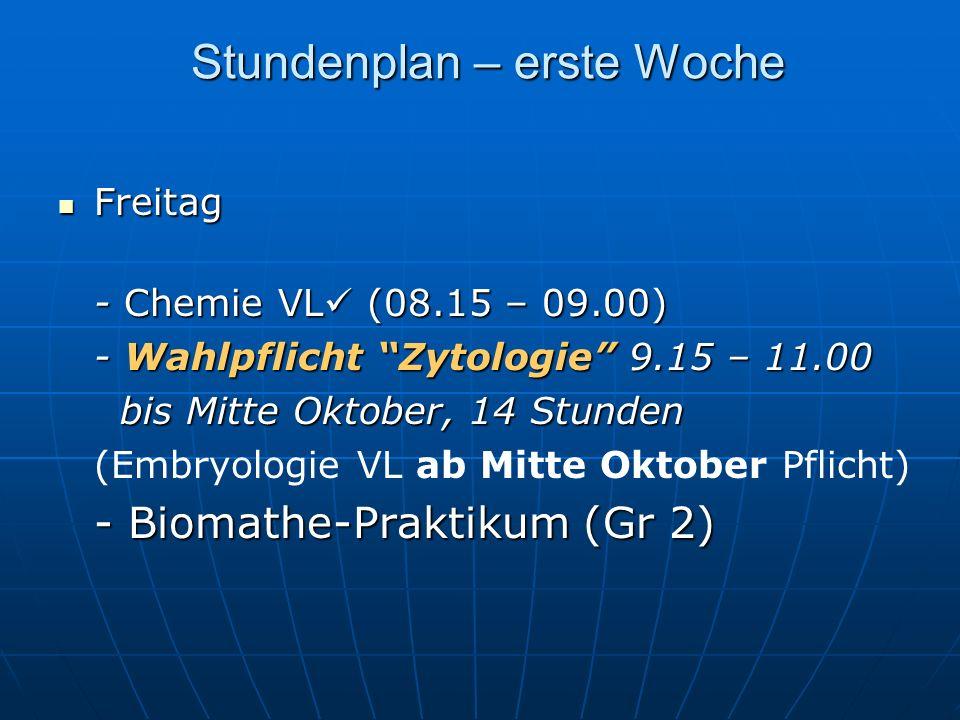 Stundenplan – erste Woche Freitag Freitag - Chemie VL (08.15 – 09.00) - Wahlpflicht Zytologie 9.15 – 11.00 bis Mitte Oktober, 14 Stunden bis Mitte Oktober, 14 Stunden (Embryologie VL ab Mitte Oktober Pflicht) - Biomathe-Praktikum (Gr 2)