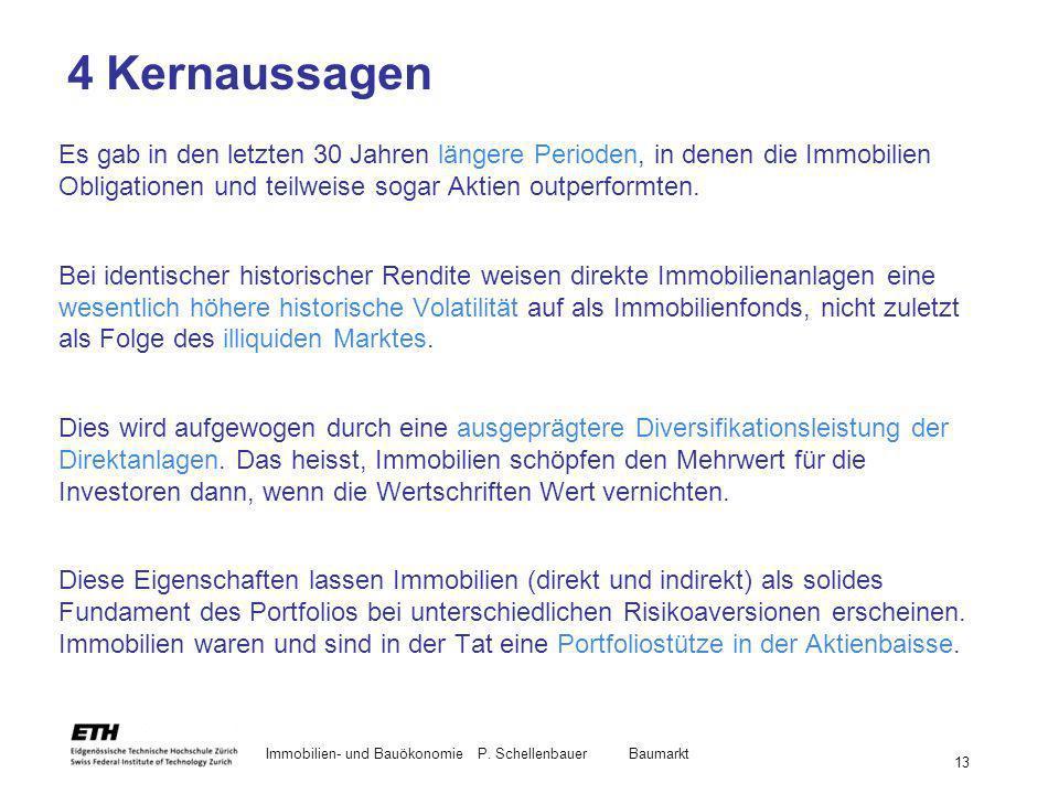 Immobilien- und BauökonomieP. Schellenbauer Baumarkt 13 4 Kernaussagen Es gab in den letzten 30 Jahren längere Perioden, in denen die Immobilien Oblig