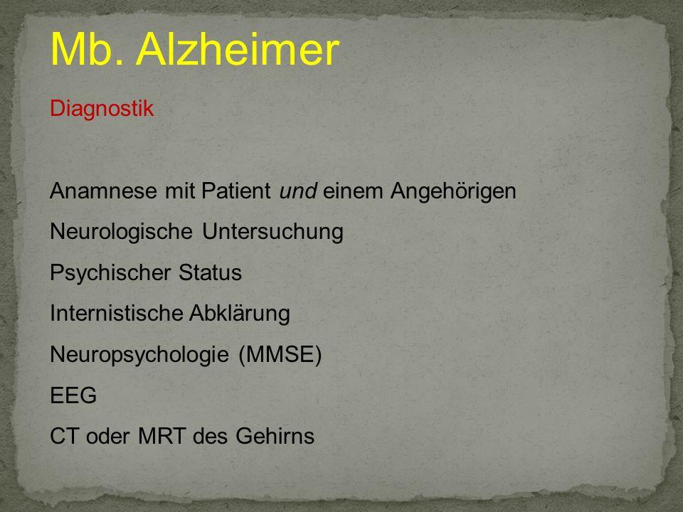 Mb. Alzheimer Diagnostik Anamnese mit Patient und einem Angehörigen Neurologische Untersuchung Psychischer Status Internistische Abklärung Neuropsycho