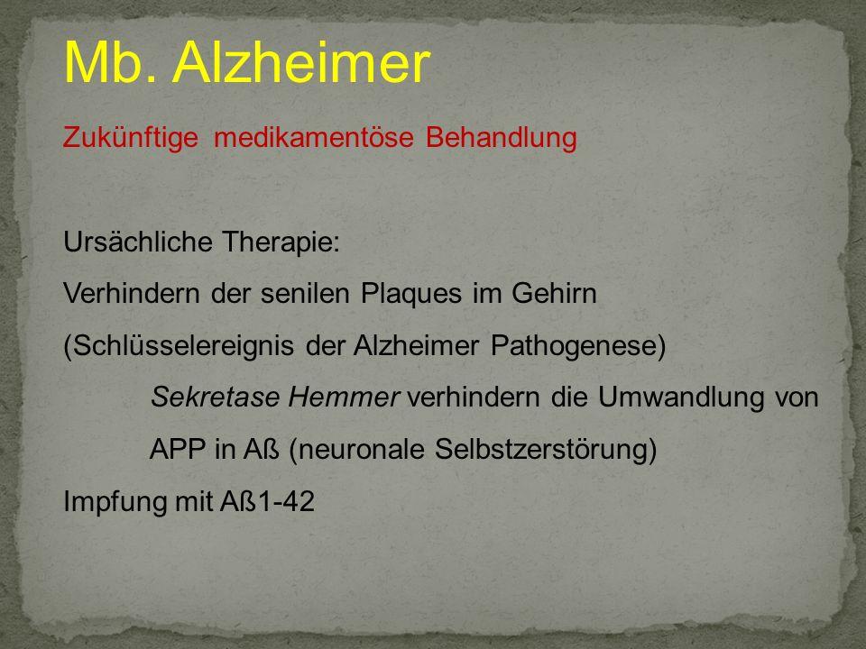 Mb. Alzheimer Zukünftige medikamentöse Behandlung Ursächliche Therapie: Verhindern der senilen Plaques im Gehirn (Schlüsselereignis der Alzheimer Path
