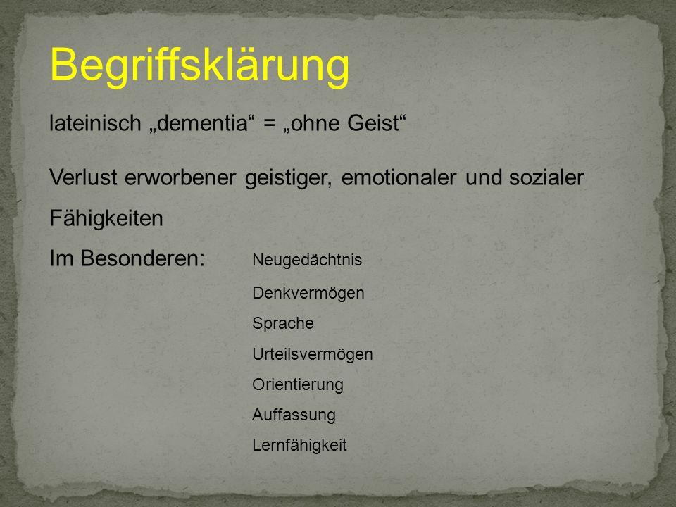 Mb.Alzheimer Symptome Deutliche Beeinträchtigung des Gedächtnisses (v.a.