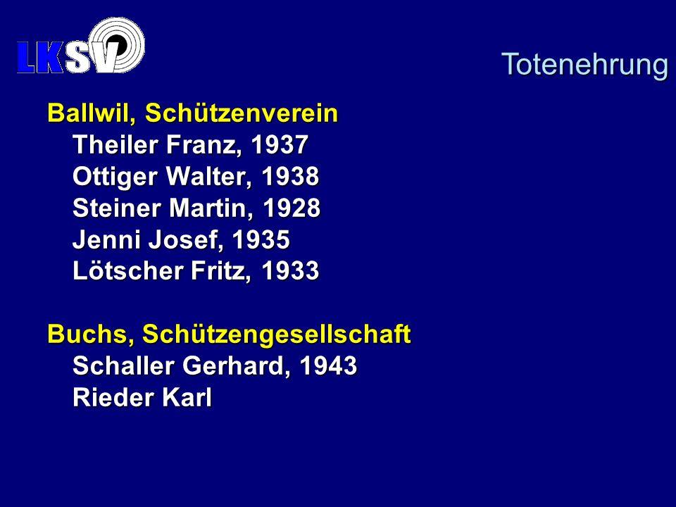 Ballwil, Schützenverein Theiler Franz, 1937 Ottiger Walter, 1938 Steiner Martin, 1928 Jenni Josef, 1935 Lötscher Fritz, 1933 Buchs, Schützengesellschaft Schaller Gerhard, 1943 Rieder Karl Totenehrung