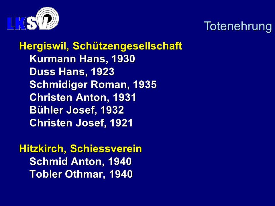 Hergiswil, Schützengesellschaft Kurmann Hans, 1930 Duss Hans, 1923 Schmidiger Roman, 1935 Christen Anton, 1931 Bühler Josef, 1932 Christen Josef, 1921 Hitzkirch, Schiessverein Schmid Anton, 1940 Tobler Othmar, 1940 Totenehrung