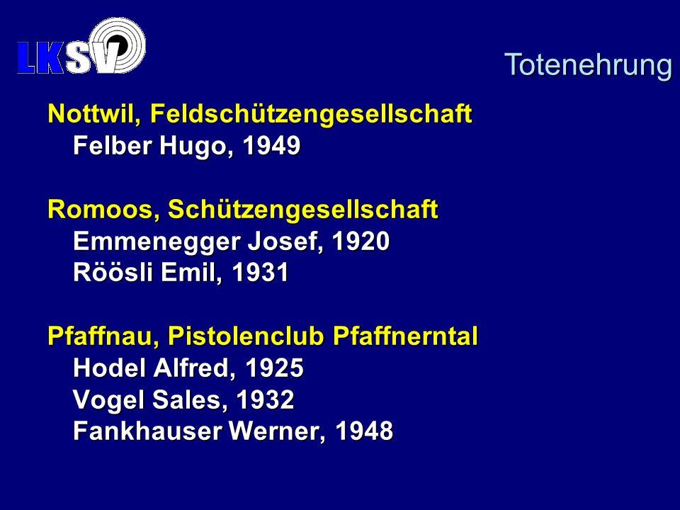 Nottwil, Feldschützengesellschaft Felber Hugo, 1949 Romoos, Schützengesellschaft Emmenegger Josef, 1920 Röösli Emil, 1931 Pfaffnau, Pistolenclub Pfaffnerntal Hodel Alfred, 1925 Vogel Sales, 1932 Fankhauser Werner, 1948 Totenehrung