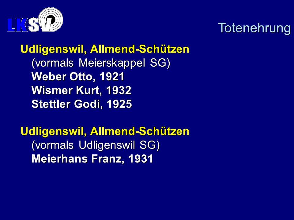 Udligenswil, Allmend-Schützen (vormals Meierskappel SG) Weber Otto, 1921 Wismer Kurt, 1932 Stettler Godi, 1925 Udligenswil, Allmend-Schützen (vormals Udligenswil SG) Meierhans Franz, 1931 Totenehrung