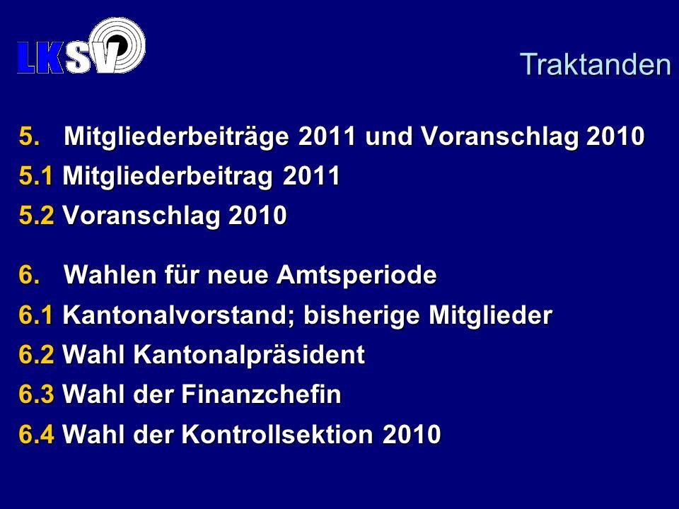 5.Mitgliederbeiträge 2011 und Voranschlag 2010 5.1 Mitgliederbeitrag 2011 5.2 Voranschlag 2010 6.Wahlen für neue Amtsperiode 6.1 Kantonalvorstand; bis