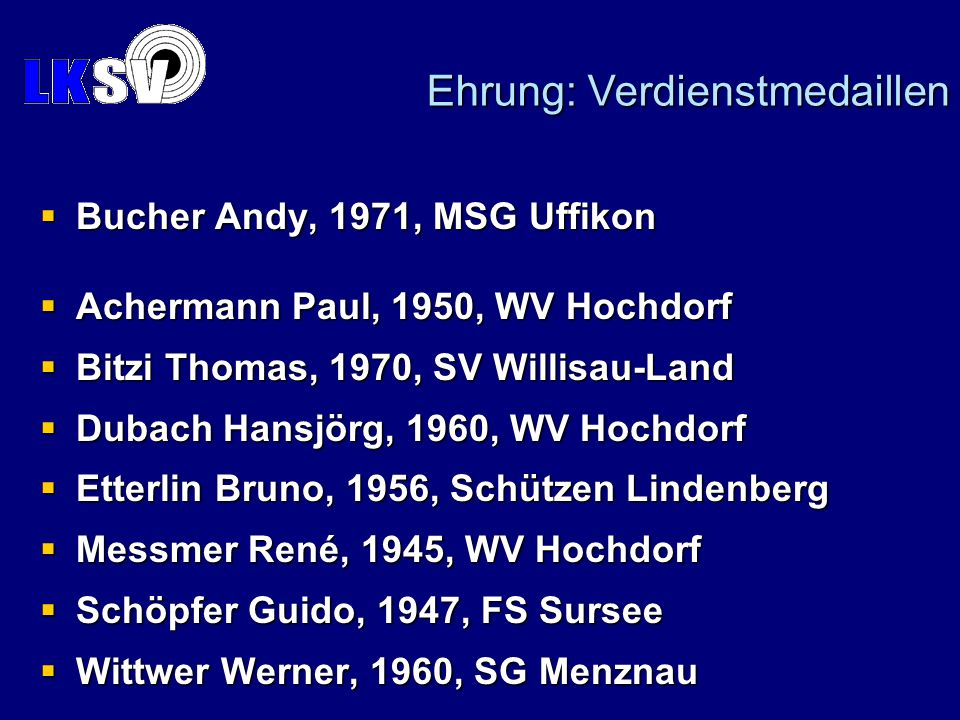 Bucher Andy, 1971, MSG Uffikon Bucher Andy, 1971, MSG Uffikon Achermann Paul, 1950, WV Hochdorf Achermann Paul, 1950, WV Hochdorf Bitzi Thomas, 1970,