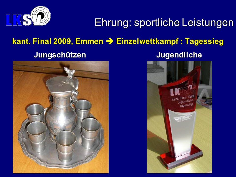 Ehrung: sportliche Leistungen kant. Final 2009, Emmen Einzelwettkampf : Tagessieg Jungschützen Jugendliche