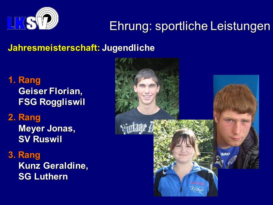 Jahresmeisterschaft: Jugendliche Jahresmeisterschaft: Jugendliche 1.Rang Geiser Florian, FSG Roggliswil 2.Rang Meyer Jonas, SV Ruswil 3. Rang Kunz Ger
