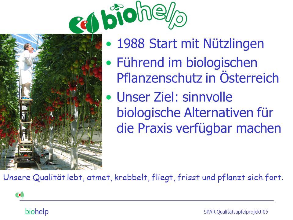 biohelp SPAR Qualitätsapfelprojekt 05 Unsere Qualität lebt, atmet, krabbelt, fliegt, frisst und pflanzt sich fort.