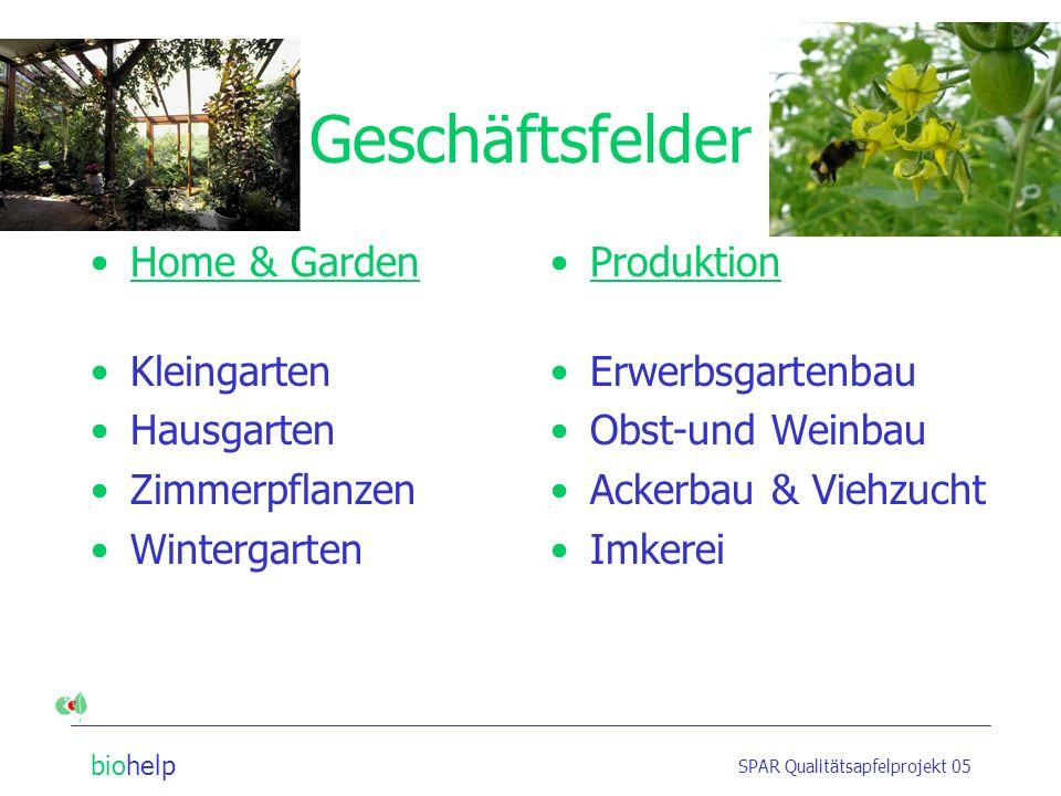 biohelp SPAR Qualitätsapfelprojekt 05 Geschäftsfelder Home & Garden Kleingarten Hausgarten Zimmerpflanzen Wintergarten Produktion Erwerbsgartenbau Obst-und Weinbau Ackerbau & Viehzucht Imkerei