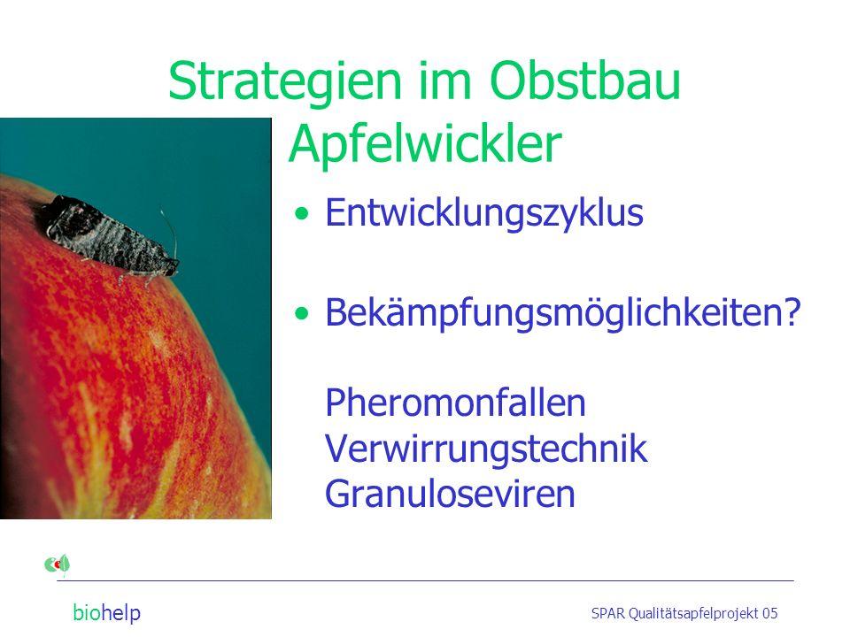 biohelp SPAR Qualitätsapfelprojekt 05 Strategien im Obstbau Apfelwickler Entwicklungszyklus Bekämpfungsmöglichkeiten.