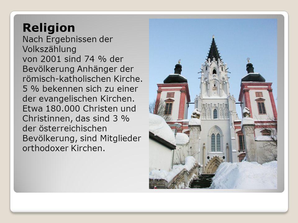 Religion Nach Ergebnissen der Volkszählung von 2001 sind 74 % der Bevölkerung Anhänger der römisch-katholischen Kirche. 5 % bekennen sich zu einer der