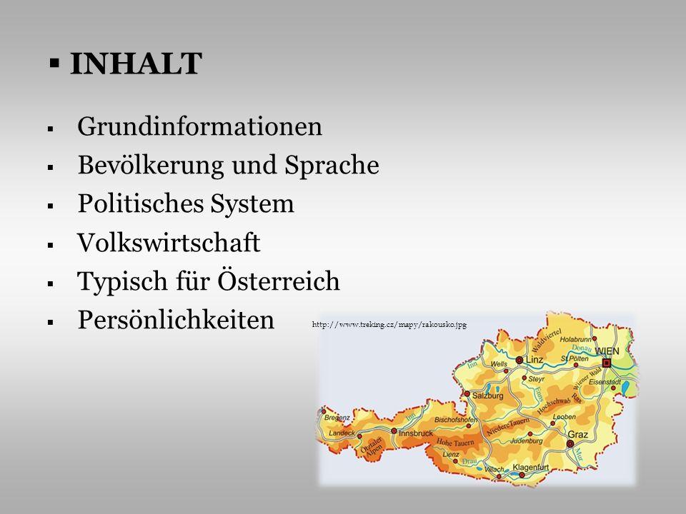 GRUNDINFORMATIONEN Österreich liegt im südlichen Mitteleuropa, nimmt eine Fläche von 83 853 km 2 ein es grenzt an 8 Länder http://www.medienwerkstatt-online.de/lws_wissen/bilder/216-3.jpg