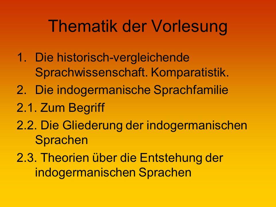 Thematik der Vorlesung 1.Die historisch-vergleichende Sprachwissenschaft.