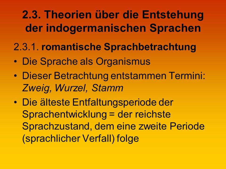 2.3.Theorien über die Entstehung der indogermanischen Sprachen 2.3.1.