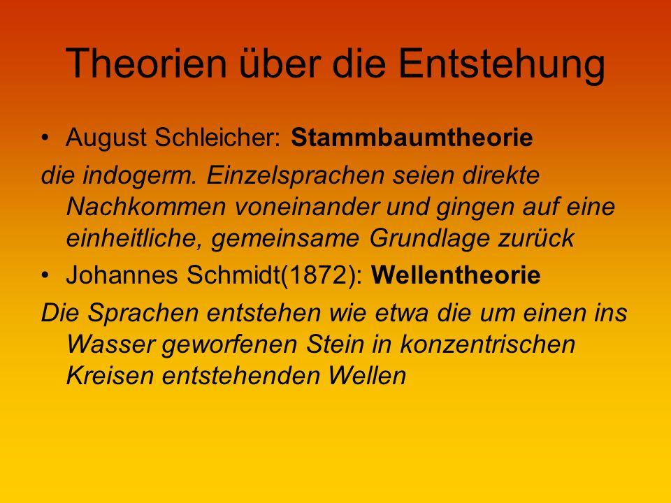 Theorien über die Entstehung August Schleicher: Stammbaumtheorie die indogerm.