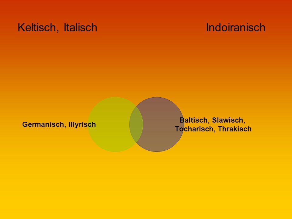 Keltisch, Italisch Indoiranisch Germanisch, Illyrisch Baltisch, Slawisch, Tocharisch, Thrakisch