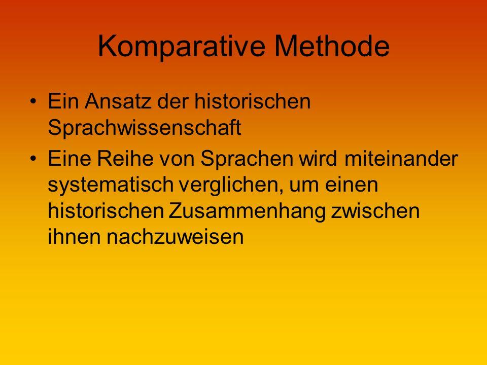 Komparative Methode Ein Ansatz der historischen Sprachwissenschaft Eine Reihe von Sprachen wird miteinander systematisch verglichen, um einen historischen Zusammenhang zwischen ihnen nachzuweisen