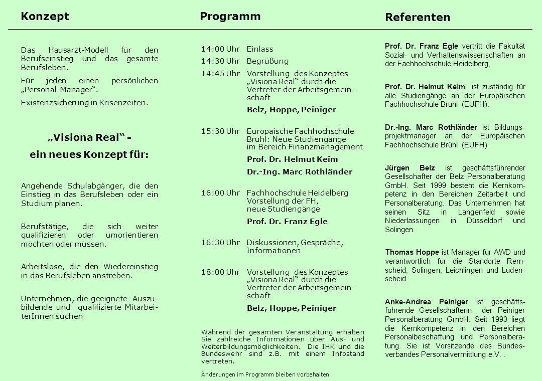 Programm Referenten Konzept Das Hausarzt-Modell für den Berufseinstieg und das gesamte Berufsleben.