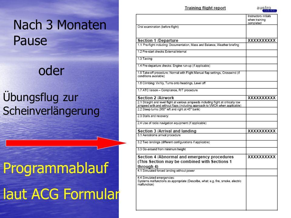 Programmablauf laut ACG Formular Nach 3 Monaten Pause oder Übungsflug zur Scheinverlängerung