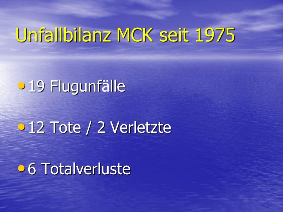 Unfallbilanz MCK seit 1975 19 Flugunflle 19 Flugunfälle 12 Tote / 2 Verletzte 12 Tote / 2 Verletzte 6 Totalverluste 6 Totalverluste