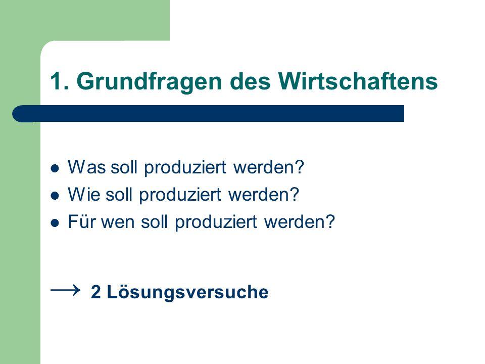 1.Grundfragen des Wirtschaftens Was soll produziert werden.
