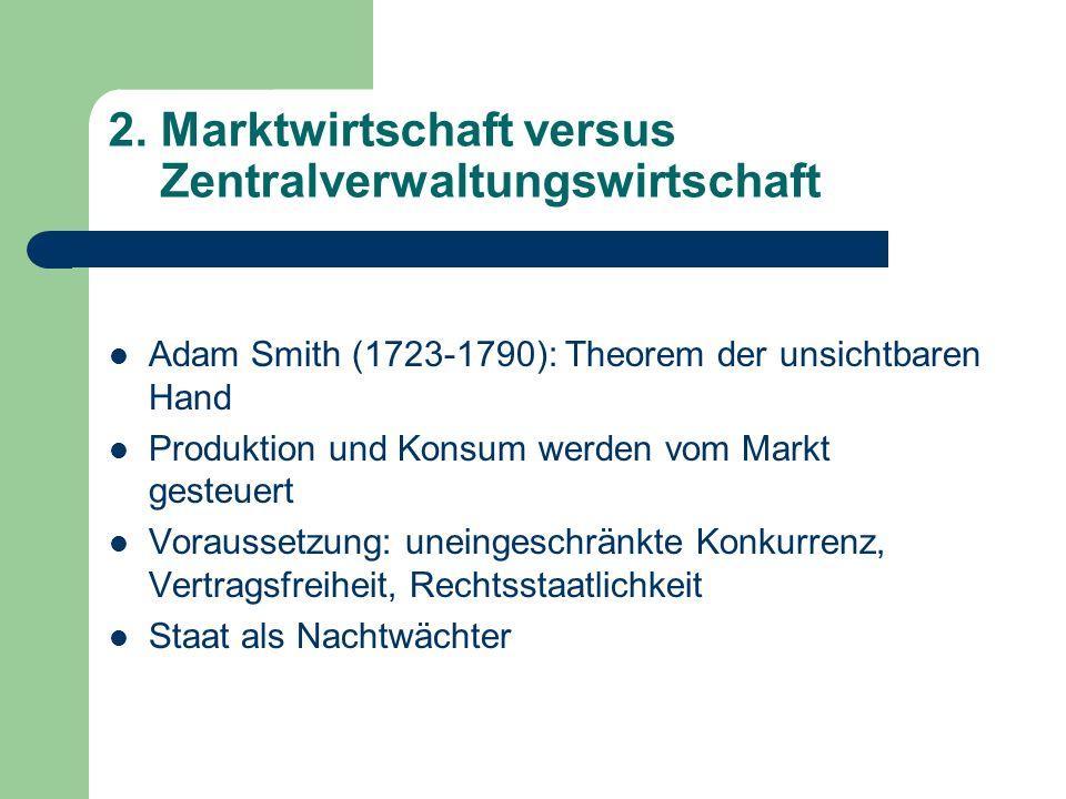 2. Marktwirtschaft versus Zentralverwaltungswirtschaft Adam Smith (1723-1790): Theorem der unsichtbaren Hand Produktion und Konsum werden vom Markt ge