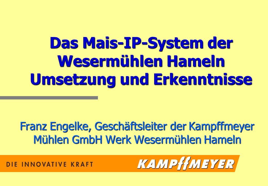Das Mais-IP-System der Wesermühlen Hameln Umsetzung und Erkenntnisse Franz Engelke, Geschäftsleiter der Kampffmeyer Mühlen GmbH Werk Wesermühlen Hameln
