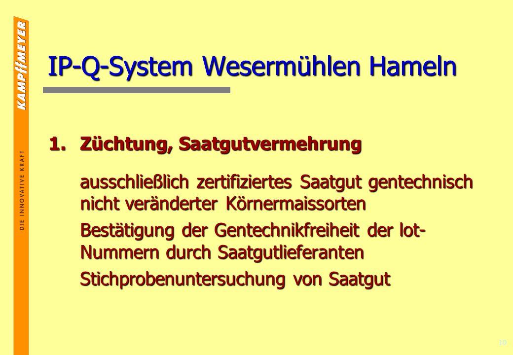 10 IP-Q-System Wesermühlen Hameln 1.Züchtung, Saatgutvermehrung ausschließlich zertifiziertes Saatgut gentechnisch nicht veränderter Körnermaissorten Bestätigung der Gentechnikfreiheit der lot- Nummern durch Saatgutlieferanten Stichprobenuntersuchung von Saatgut