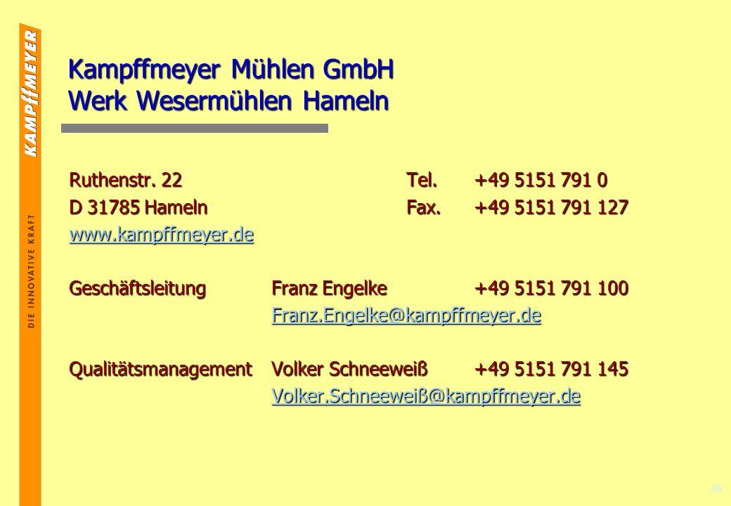 26 Kampffmeyer Mühlen GmbH Werk Wesermühlen Hameln Ruthenstr.
