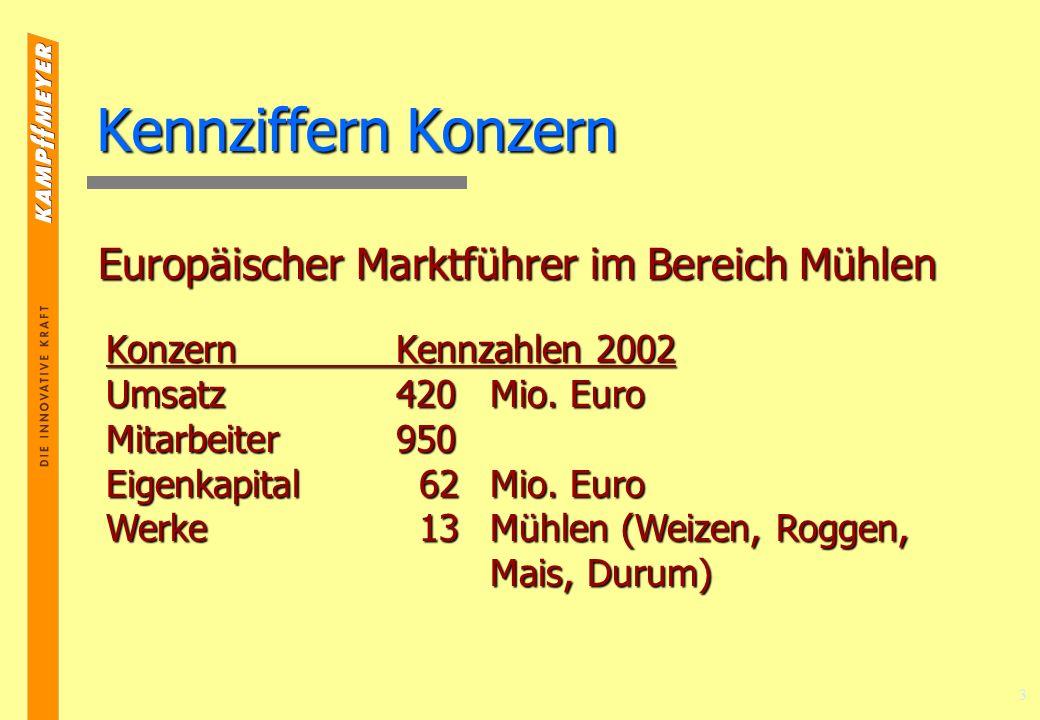 3 Kennziffern Konzern Europäischer Marktführer im Bereich Mühlen KonzernKennzahlen 2002 Umsatz420 Mio.
