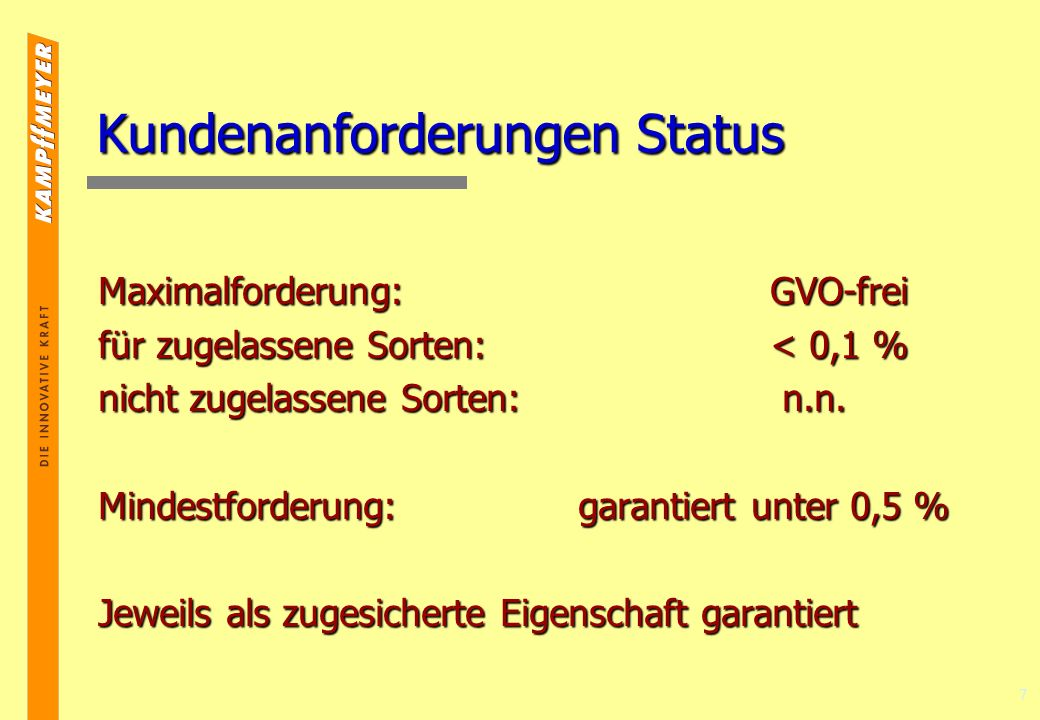 7 Kundenanforderungen Status Maximalforderung:GVO-frei für zugelassene Sorten:< 0,1 % nicht zugelassene Sorten: n.n.
