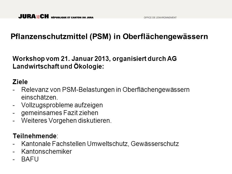 Pflanzenschutzmittel (PSM) in Oberflächengewässern Workshop vom 21.