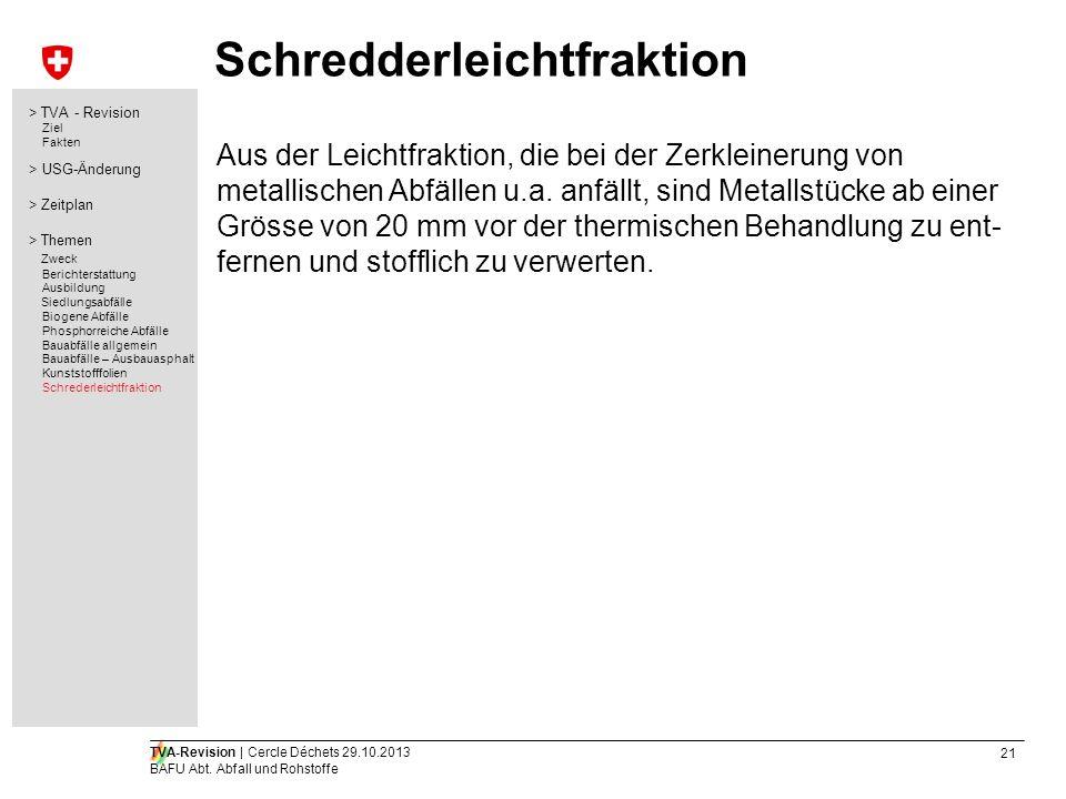 21 TVA-Revision | Cercle Déchets 29.10.2013 BAFU Abt. Abfall und Rohstoffe Schredderleichtfraktion Aus der Leichtfraktion, die bei der Zerkleinerung v