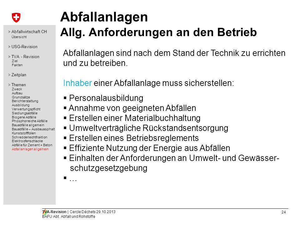 24 TVA-Revision | Cercle Déchets 29.10.2013 BAFU Abt. Abfall und Rohstoffe Abfallanlagen Allg. Anforderungen an den Betrieb Abfallanlagen sind nach de