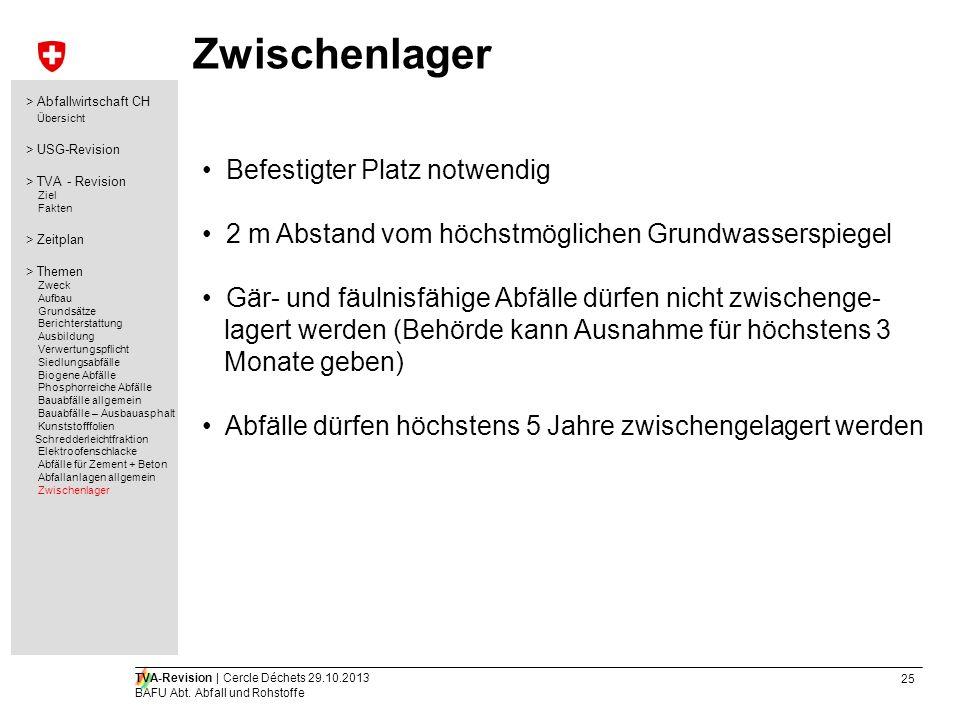 25 TVA-Revision | Cercle Déchets 29.10.2013 BAFU Abt. Abfall und Rohstoffe Zwischenlager Befestigter Platz notwendig 2 m Abstand vom höchstmöglichen G