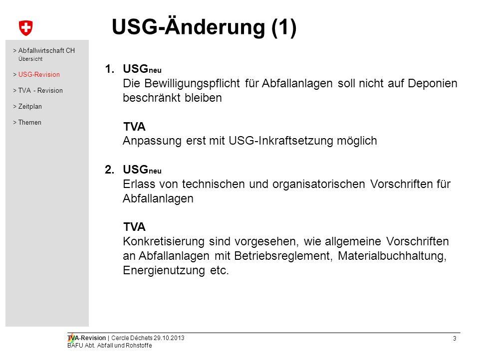 3 TVA-Revision | Cercle Déchets 29.10.2013 BAFU Abt. Abfall und Rohstoffe USG-Änderung (1) 1.USG neu Die Bewilligungspflicht für Abfallanlagen soll ni