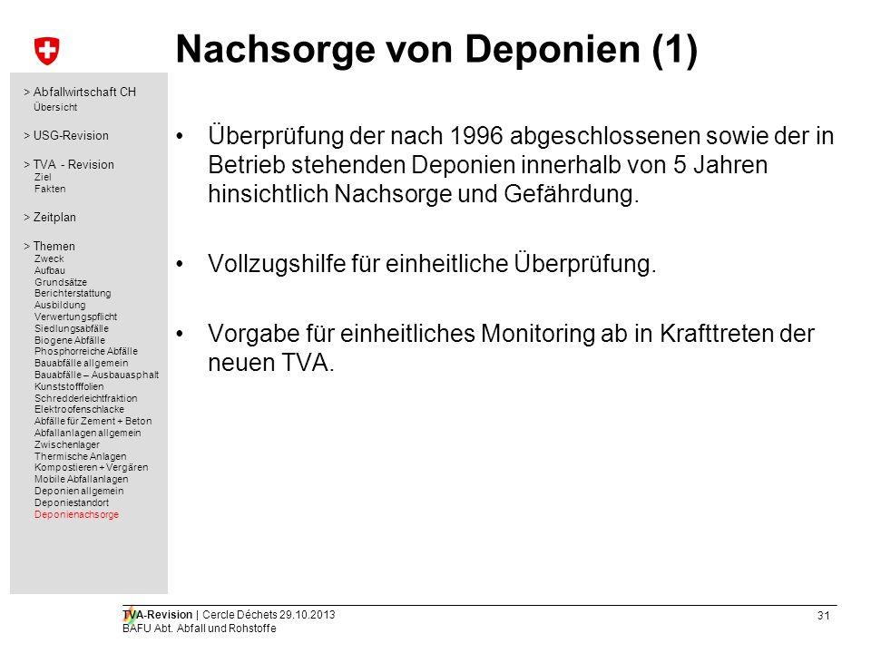31 TVA-Revision | Cercle Déchets 29.10.2013 BAFU Abt. Abfall und Rohstoffe Nachsorge von Deponien (1) Überprüfung der nach 1996 abgeschlossenen sowie